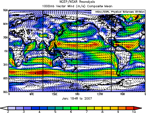 world wind vector map for January